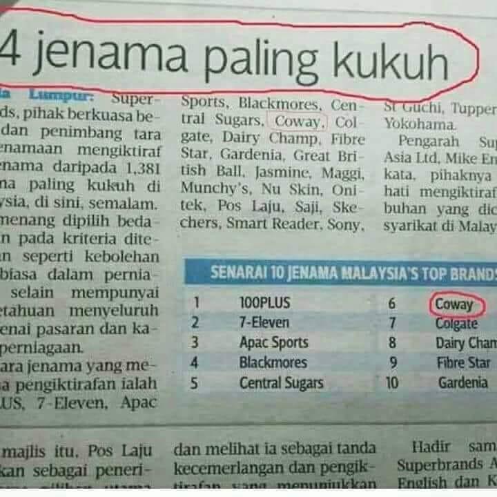 coway jenama paling kukuh di malaysia