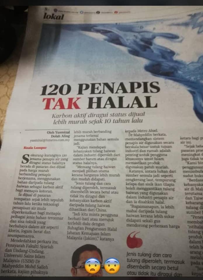 120 penapis air tak halal