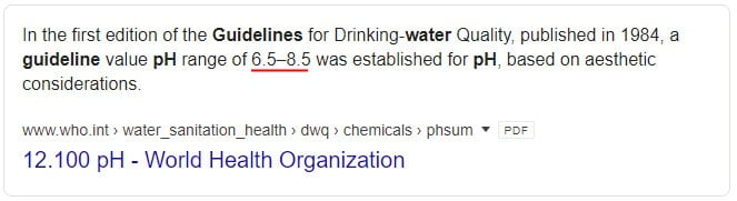 tahap ph air who boleh diminum